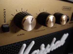 Electric guitar amp at maximum volume, 6 inches away: 110 dB